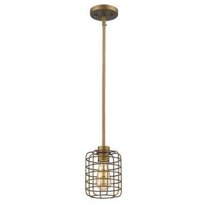 Lynden 1-Light Raw Brass Pendant with Wire Cage Shade