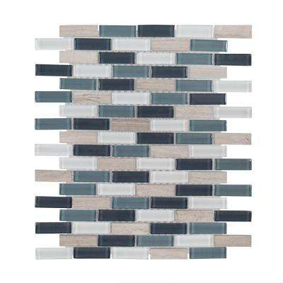 Dolphin Tail 9.75 in. x 12 in. x 6 mm Glass Mosaic Tile