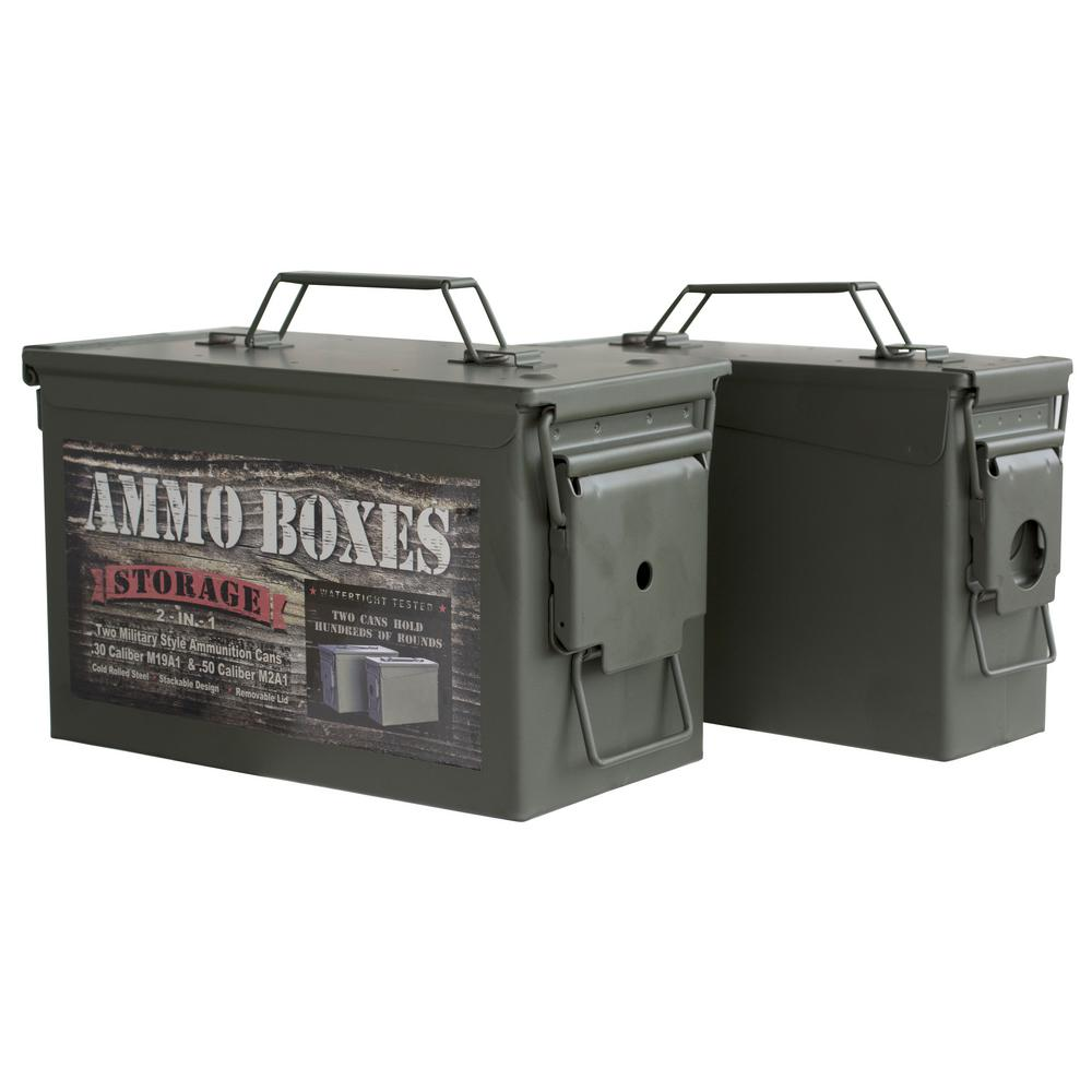 Army Style Metal Ammo Storage Box With Bonus 0.30 Cal.