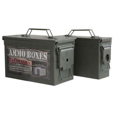0.50 Cal. Army Style Metal Ammo Storage Box with Bonus 0.30 Cal. Ammo Box