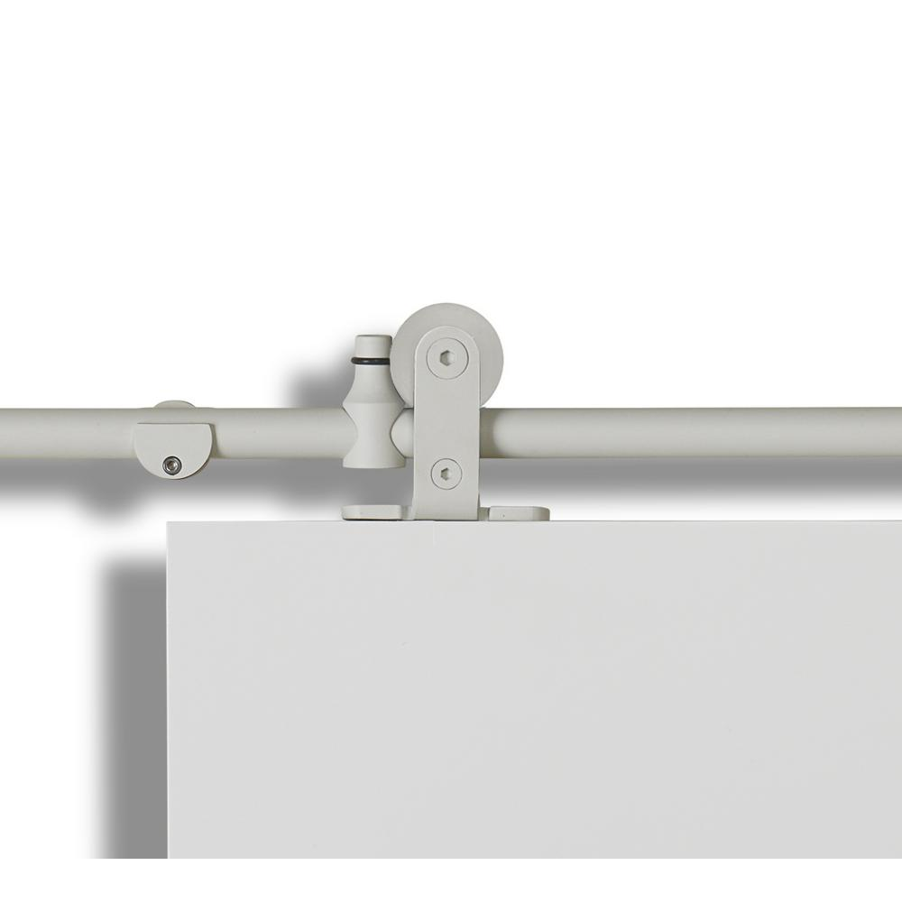 Mini-Loft Tubular Sand White Rail System for Door Up To 37 in. Wide with Sliding Door Hardware Kit-SL78MR-WT - The Home Depot