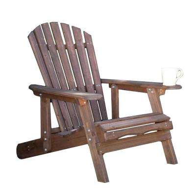 Classic Dark Brown Wood Reclining Muskoka Adirondack Chair with Ottoman