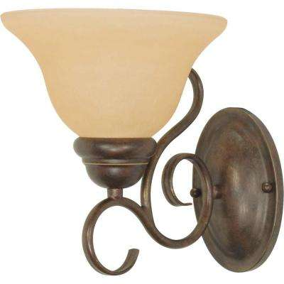 Adria 1-Light Sonoma Bronze Sconce with Champagne Linen Washed Glass