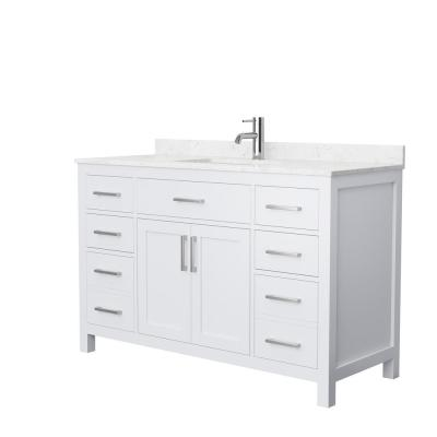 Beckett 54 in. W x 22 in. D Single Vanity in White with Cultured Marble Vanity Top in Carrara with White Basin
