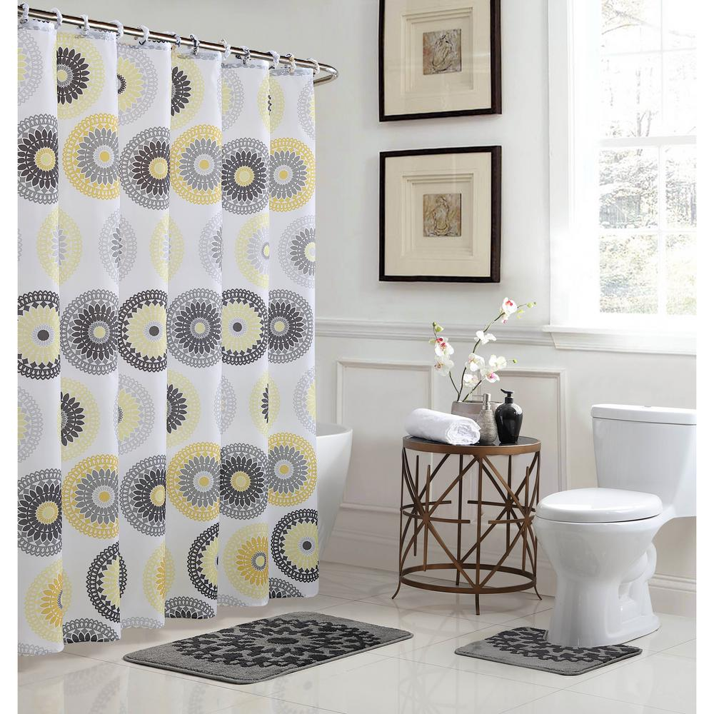 L Bath Rug Set And 72 In W X Shower Curtain Gold