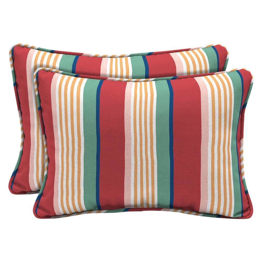 Keeley Stripe Outdoor Lumbar Pillow (2-Pack)