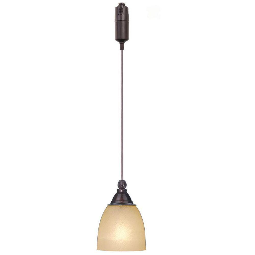 Hampton Bay 1-Light Antique Bronze Linear Track Lighting Pendant with Optional Direct Wire Canopy