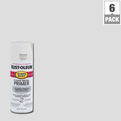 12 oz. Flat White Clean Metal Primer Spray (6-Pack)