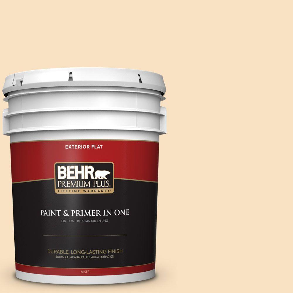 BEHR Premium Plus 5-gal. #310E-2 Stable Hay Flat Exterior Paint