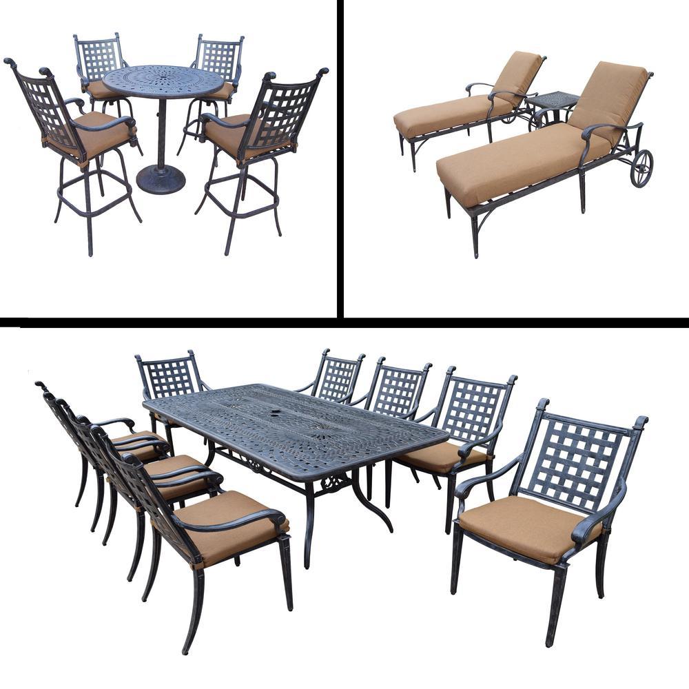 Belmont Premier 17-Piece Aluminum Outdoor Bar Height Dining Set with Sunbrella Brown Cushions