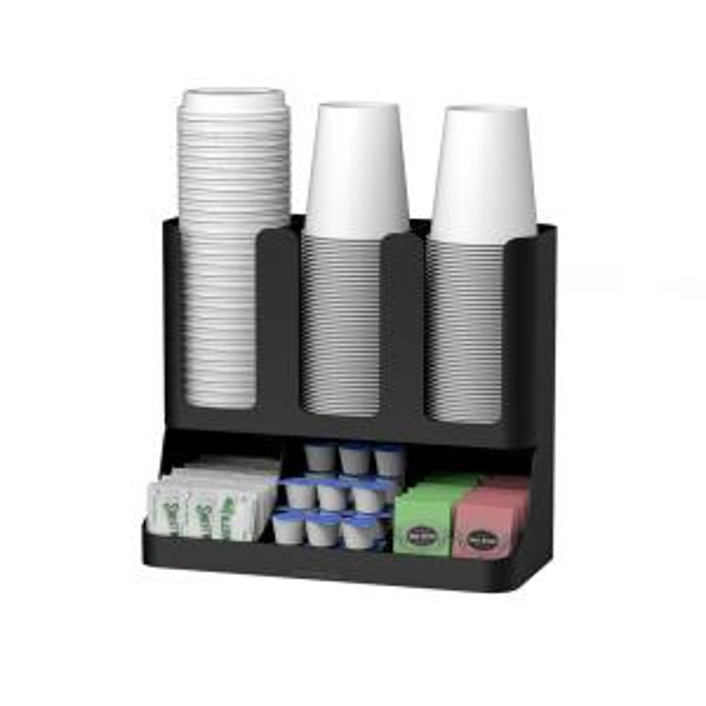 Flume 6-Compartment Black Coffee Condiment Organizer