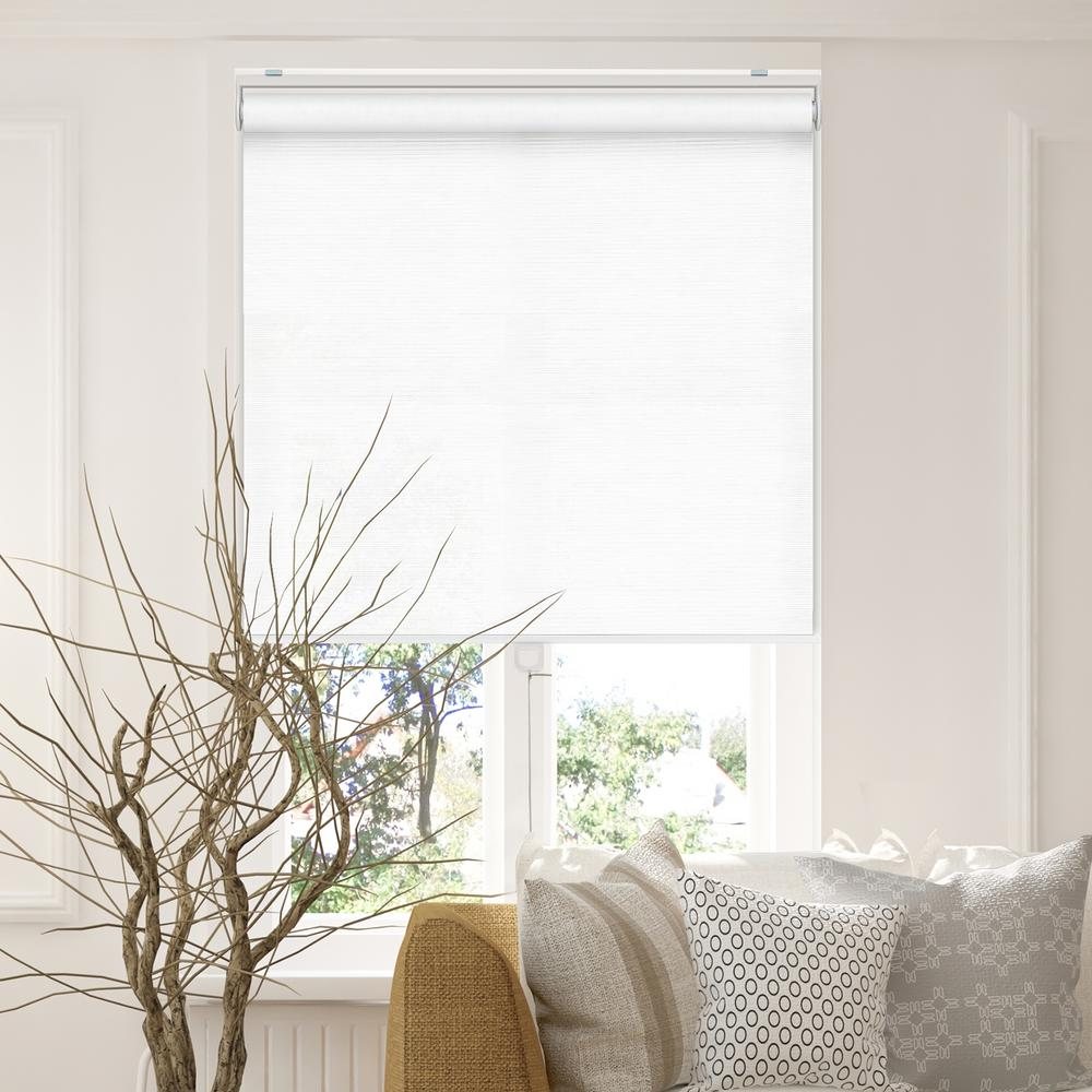 Snap-N'-Glide Felton White Polyester Cordless Horizontal Roller Shades - 27 in.