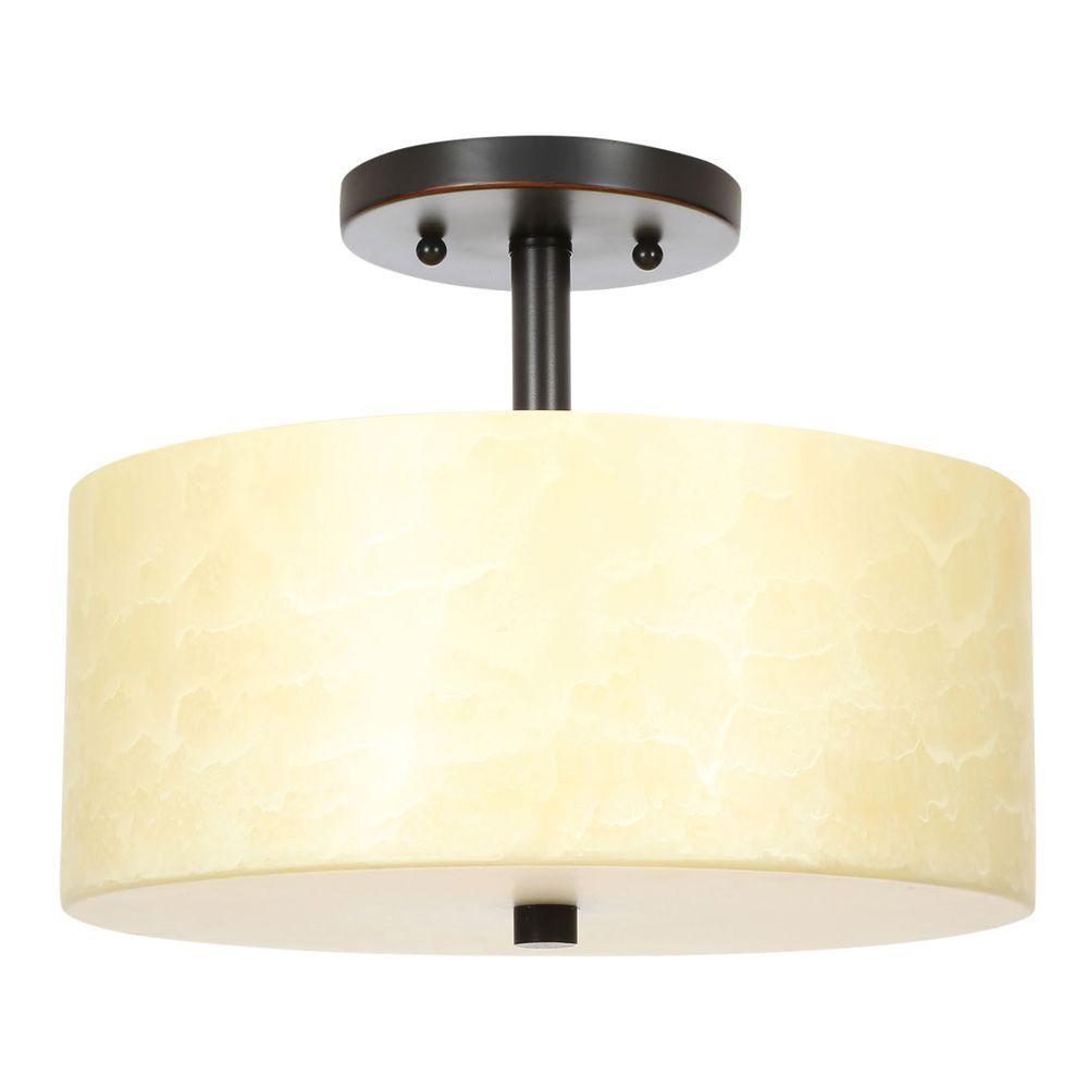 Cordova Collection 2-Light Bronze Semi-Flush Mount Light