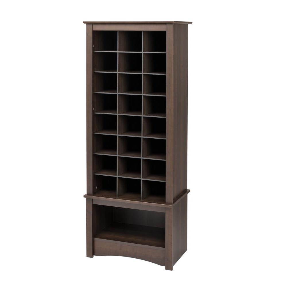 61 in. H x 25 in. W x 16 in. D Espresso Wood Look 24-Cube Storage Organizer