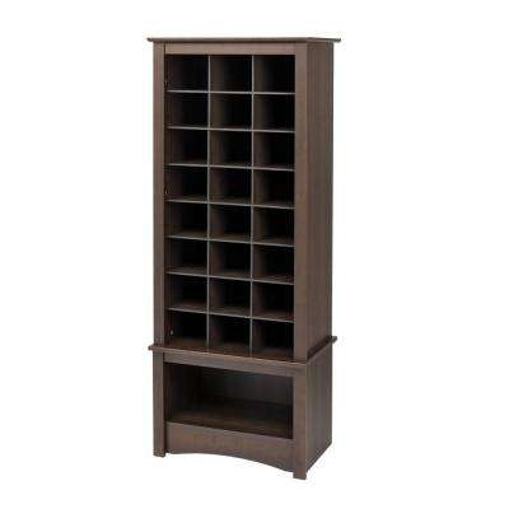 24.75 in. x 61.25 in. Tall 24-Cube Cabinet Tower Organizer in Espresso