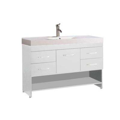 Gard 48 in. W x 18 in. D x 35 in. H Bath Vanity in White with Acrylic Vanity Top in White with White Basin