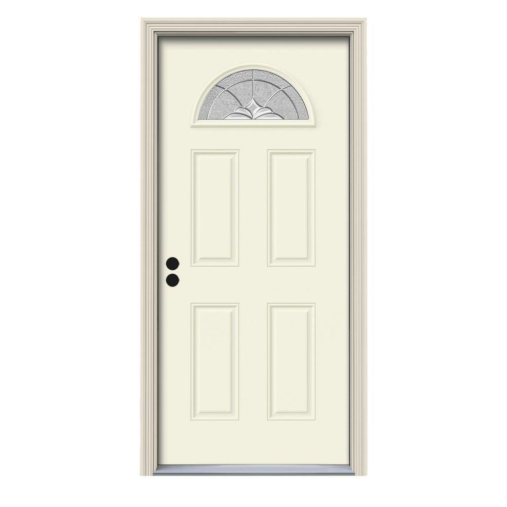 36 in. x 80 in. Fan Lite Langford Vanilla Painted Steel Prehung Right-Hand Inswing Front Door w/Brickmould
