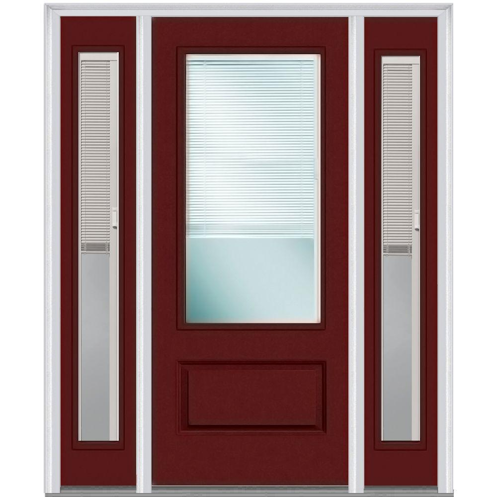 MMI Door 64 in. x 80 in. Internal Blinds Right-Hand 3/4-Lite Clear ...