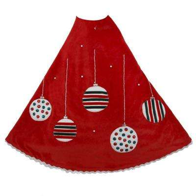 48 in. Red Ornament Design Christmas Tree Skirt