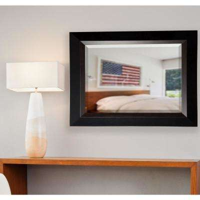 41.75 in. x 35.75 in. Brown Lining Rounded Beveled Wall Mirror