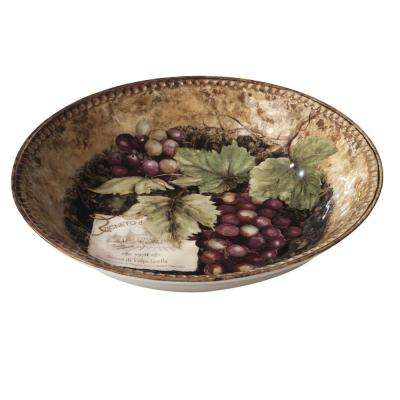 Gilded Wine 14 in. x 2.75 in. Multi-Colored Serving/Pasta Bowl