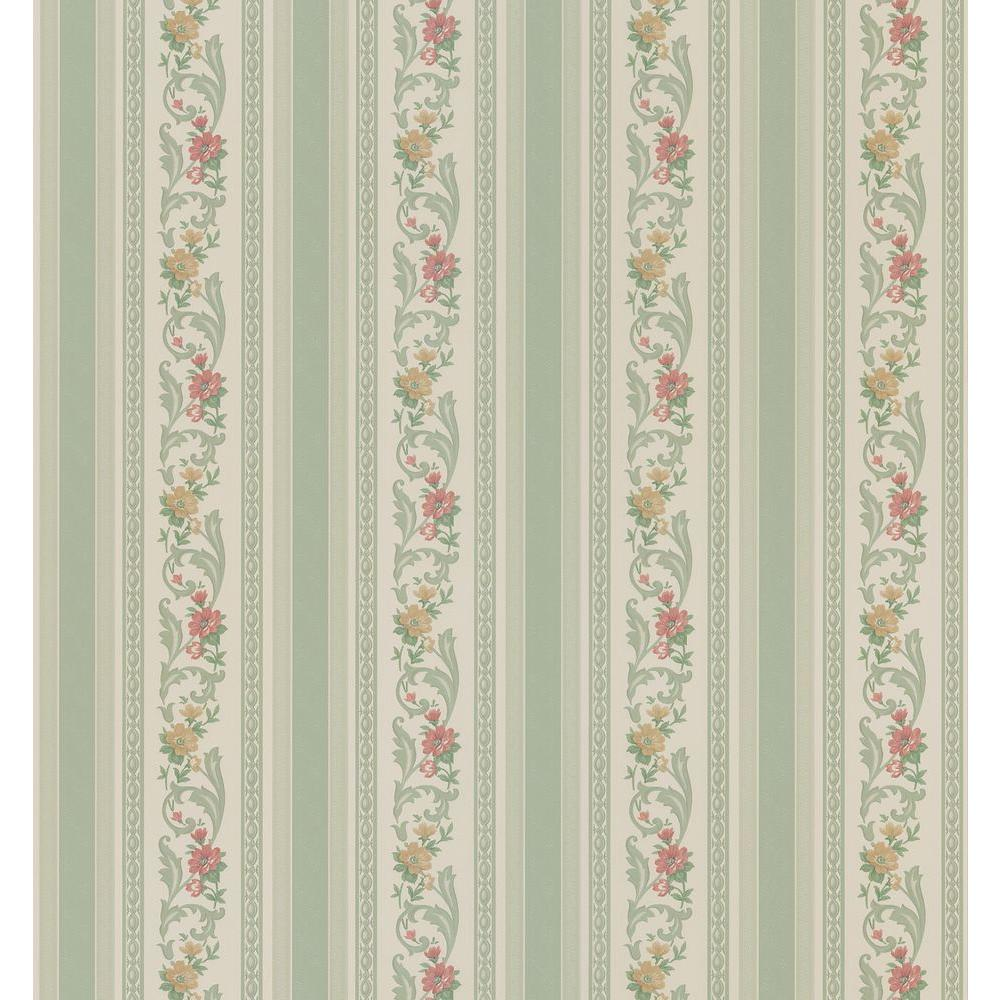 Brewster Cameo Rose IV Green Pomander Floral Stripe Wallpaper Sample