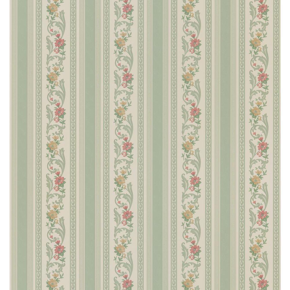 Cameo Rose IV Green Pomander Floral Stripe Wallpaper Sample