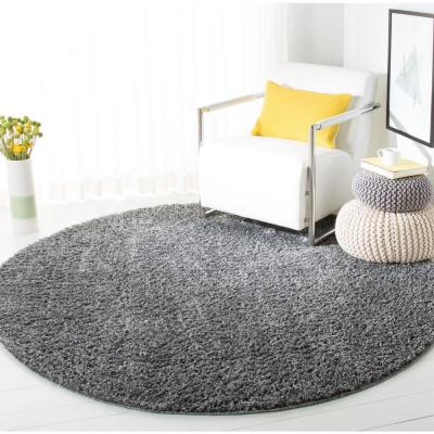 August Shag Gray 9 ft. x 9 ft. Round Area Rug