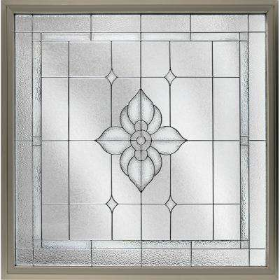 47.5 in. x 47.5 in. Decorative Glass Fixed Vinyl Glass Block Window in Tan