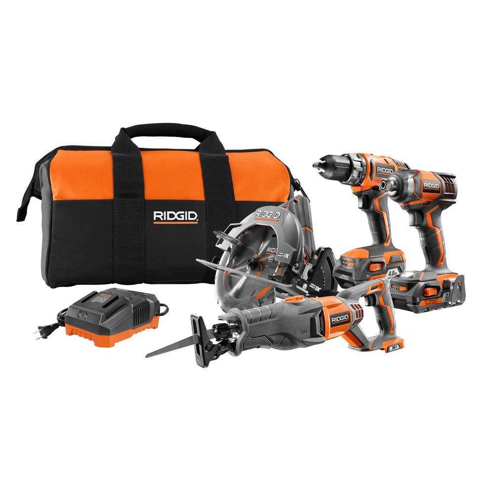 RIDGID 18-Volt Li-Ion Cordless 4-Tool Combo Kit with Drill, Impact Driver, Recip Saw, Circ Saw, 2 Batteries, Charger, and Bag