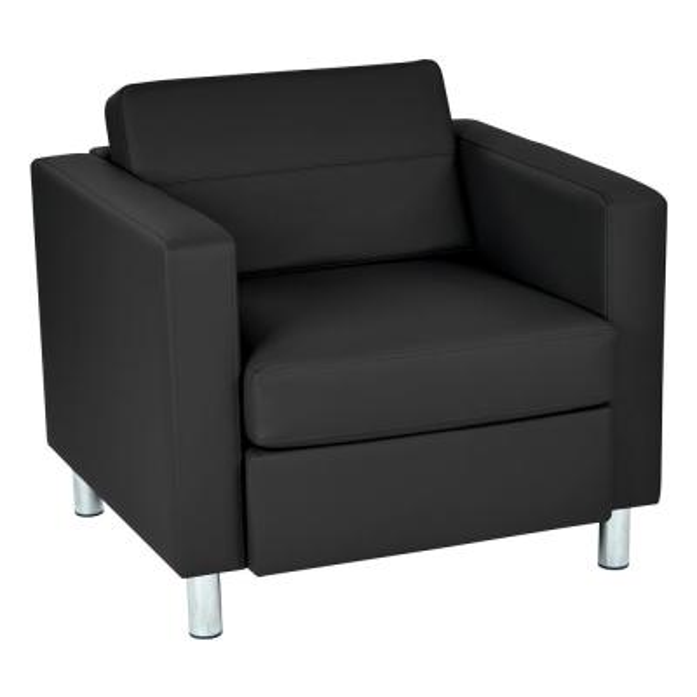 Pacific Dillon Black Vinyl Fabric Arm Chair