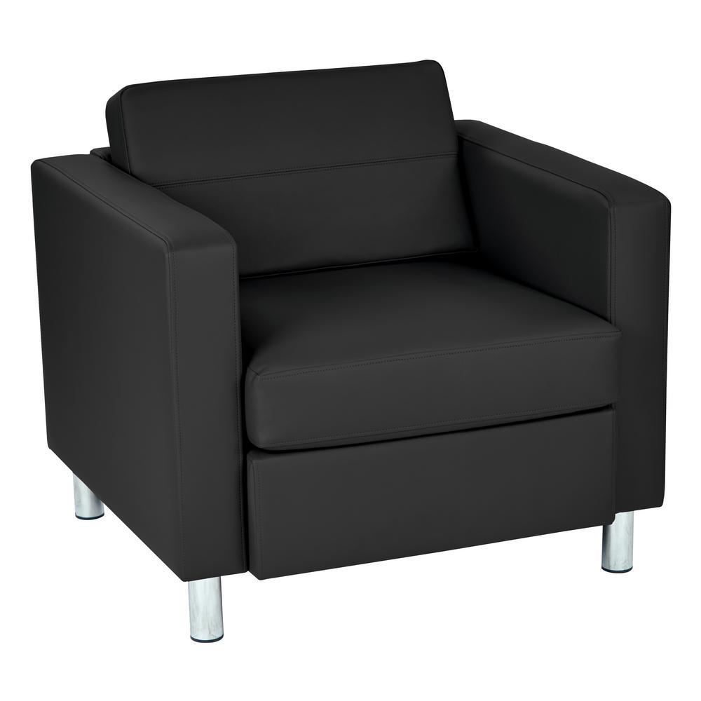 OSP Home Furnishings Pacific Dillon Black Vinyl Fabric Arm Chair PAC51-R107