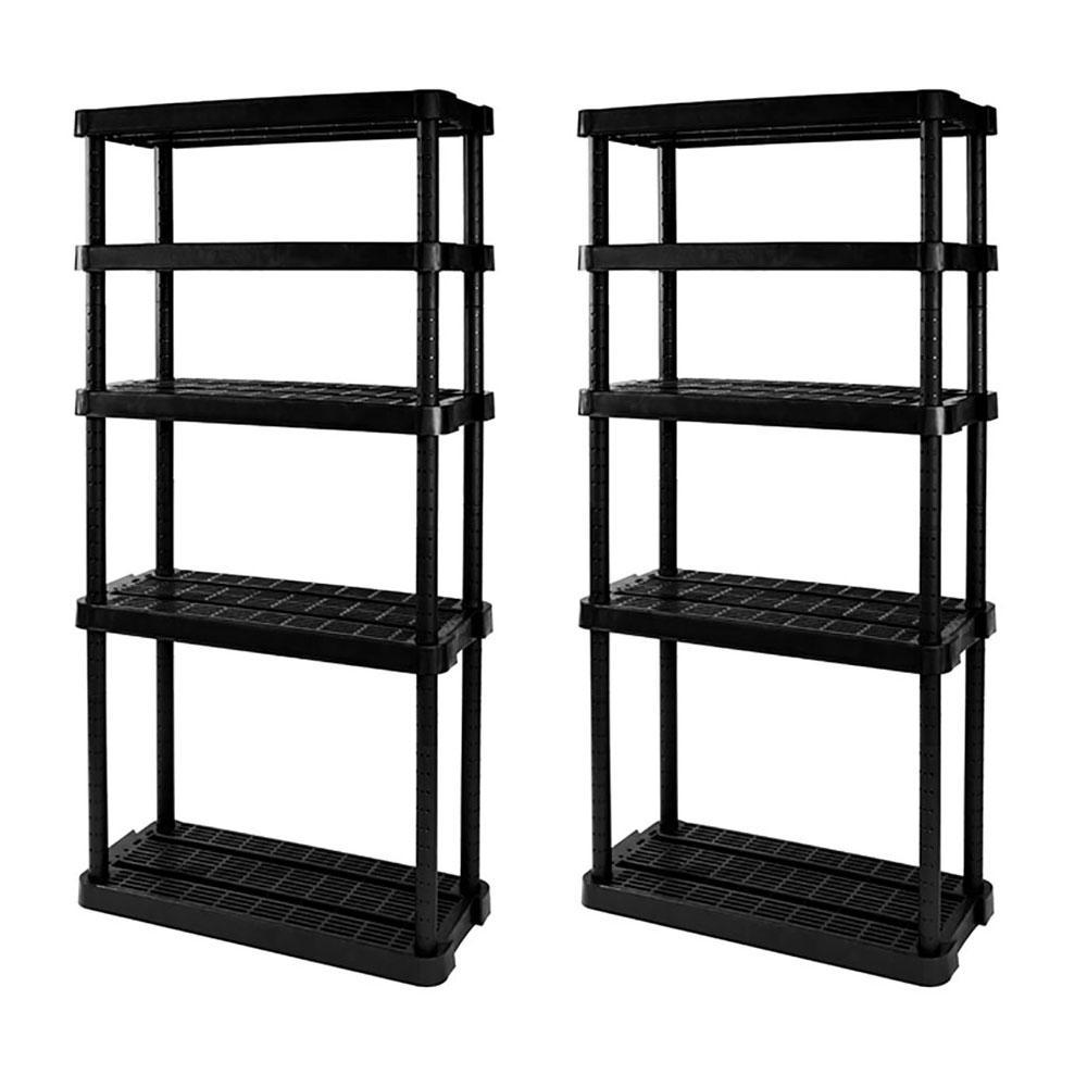 2-Pack Black 5-Tier Plastic Garage Storage Shelving Unit (32 in. W x 72 in. H x 14 in. D)