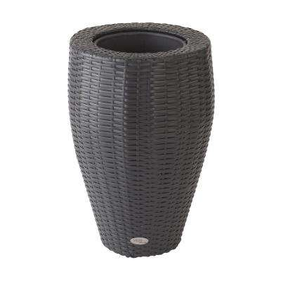 Vista 24 in. Round Resin Wicker Planter with Curve