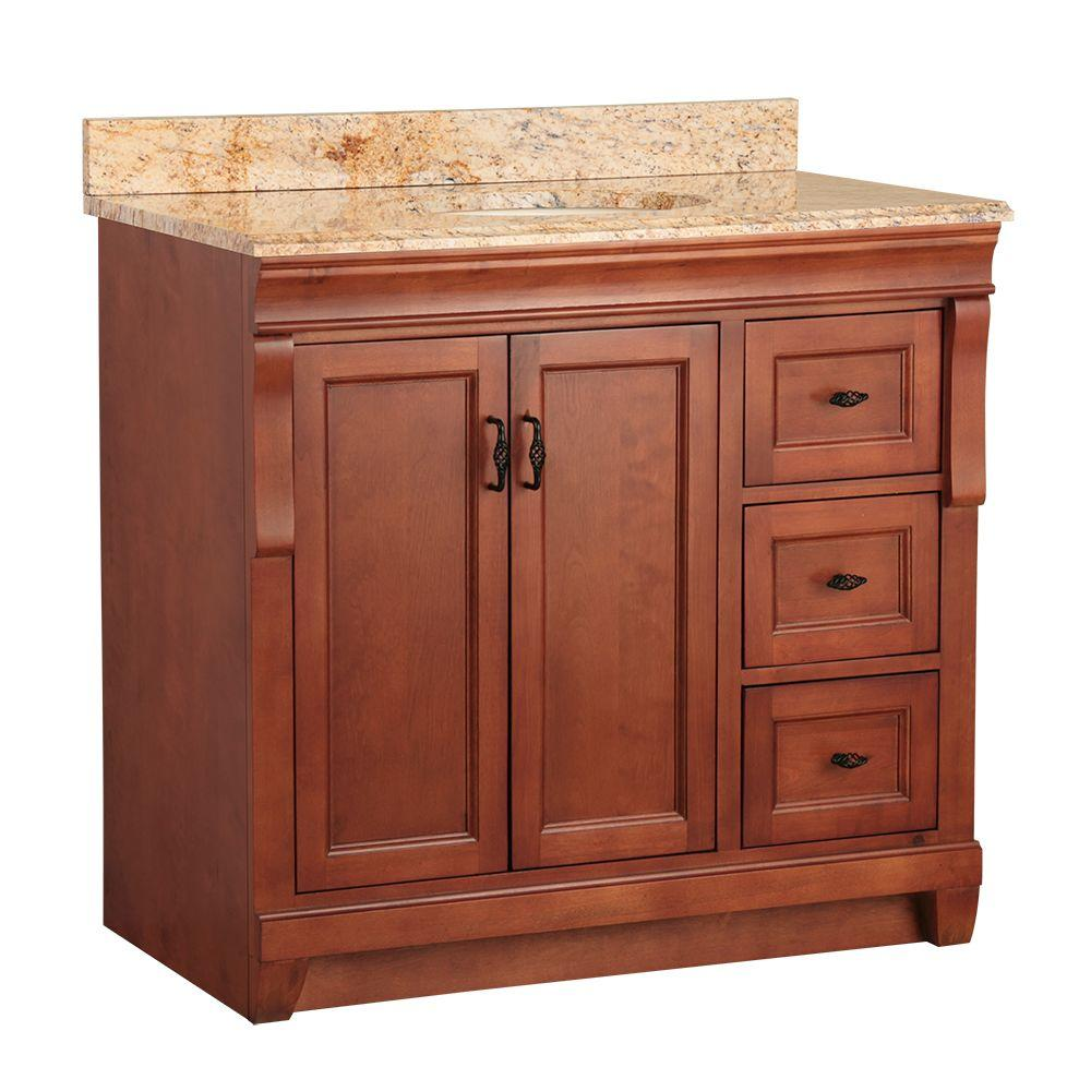 Foremost Naples 37 in. W x 22 in. D Vanity in Warm Cinnamon with Vanity Top and Stone Effects in Tuscan Sun