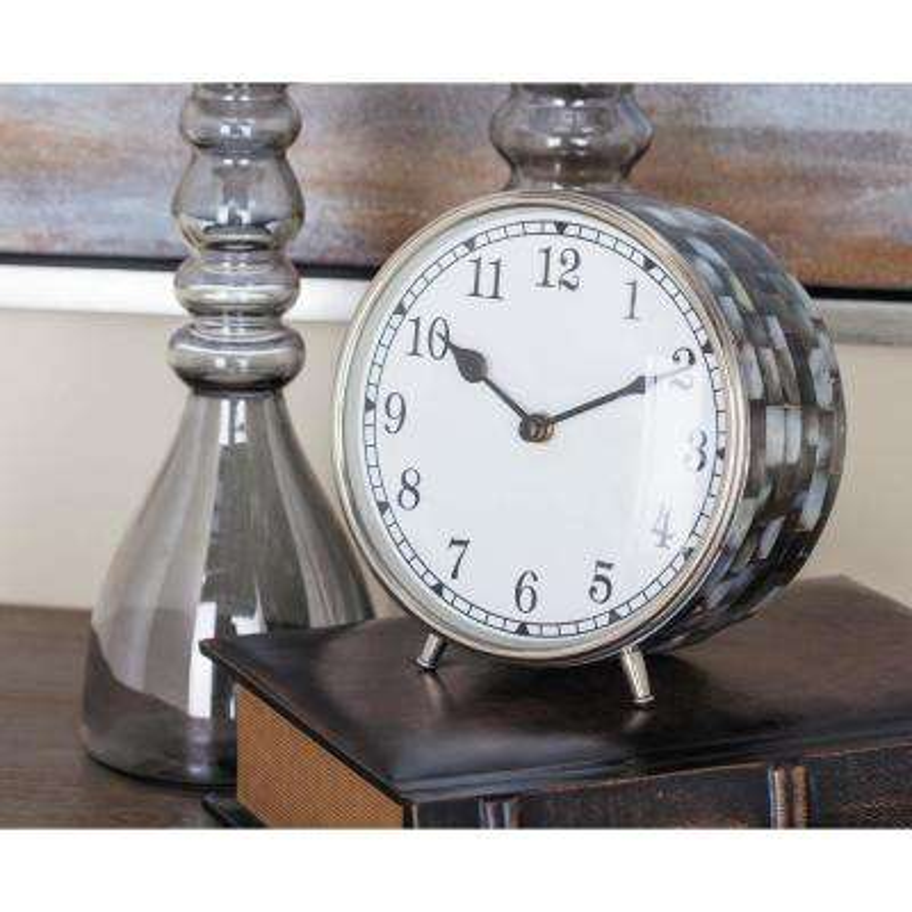 White Round Coastal Analog Table Clock