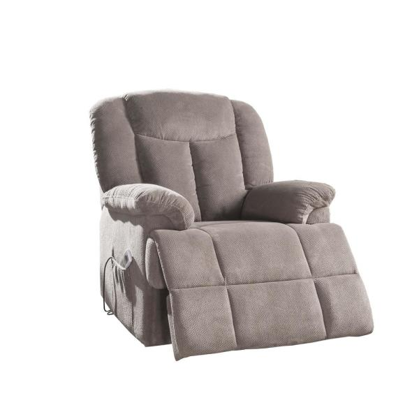 Acme Furniture Ixia Light Brown Fabric Recliner with Power Lift and