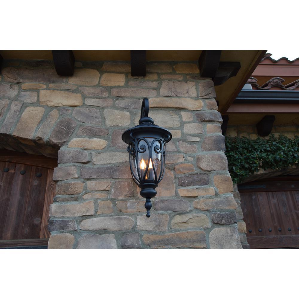 Hailee 3-Light Matte Black Outdoor Wall Lantern Sconce