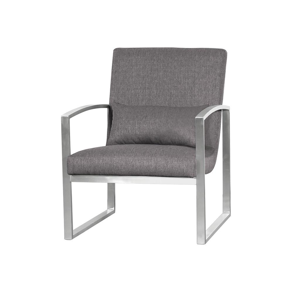 Armen living armen living leonard grey fabric contemporary accent chair in brushed stainless steel lclnchgr the home depot