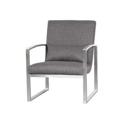 Armen Living Leonard Grey Fabric Contemporary Accent Chair in Brushed Stainless Steel
