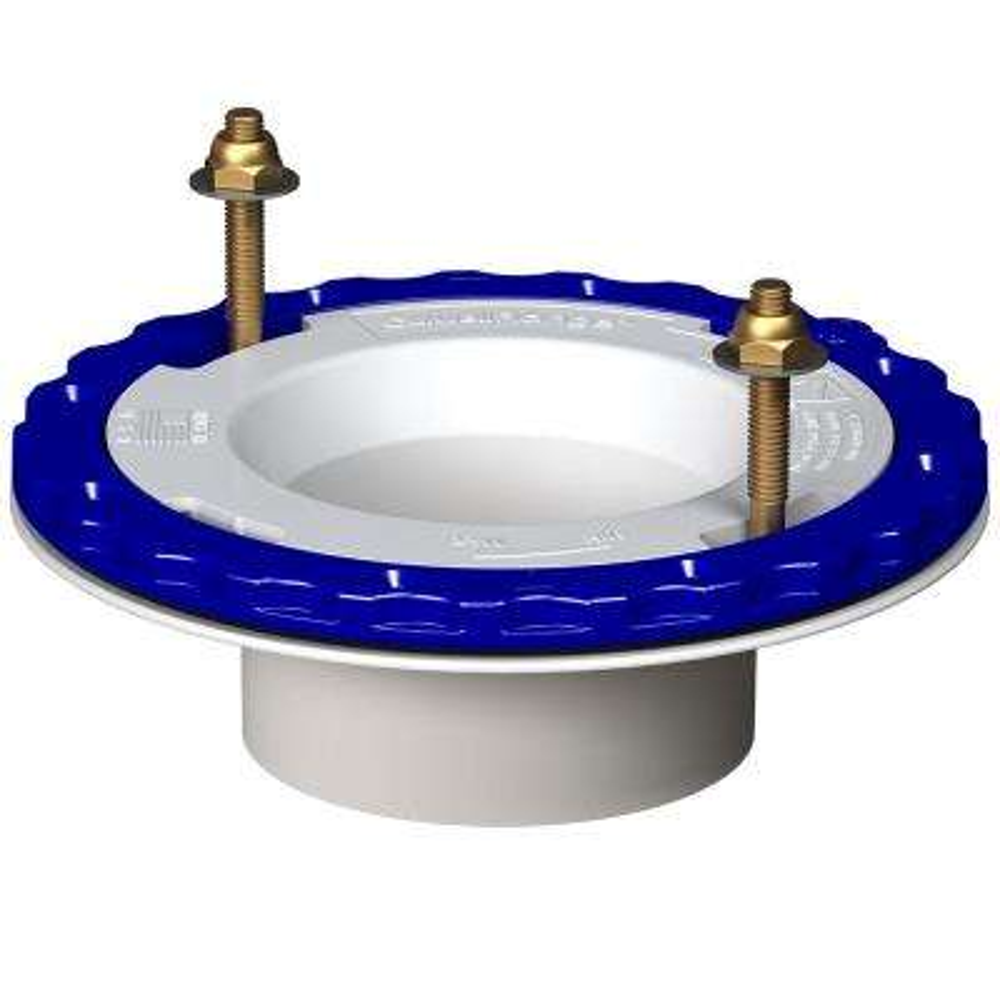 4 in. x 3 in. Premium Hub Glue-In, White PVC Floor Protecting Toilet Flange