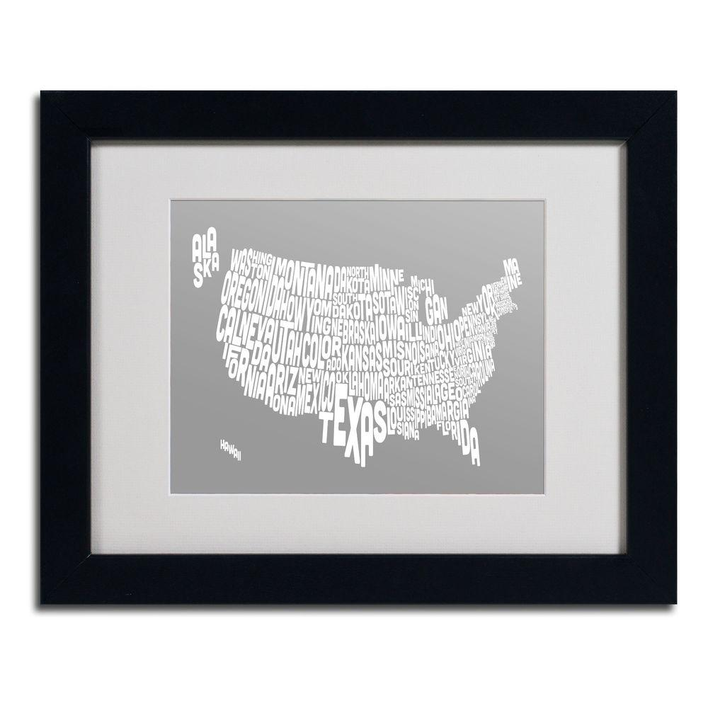11 in. x 14 in. USA States Text Map - Grey