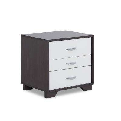 Eloy White and Espresso Nightstand