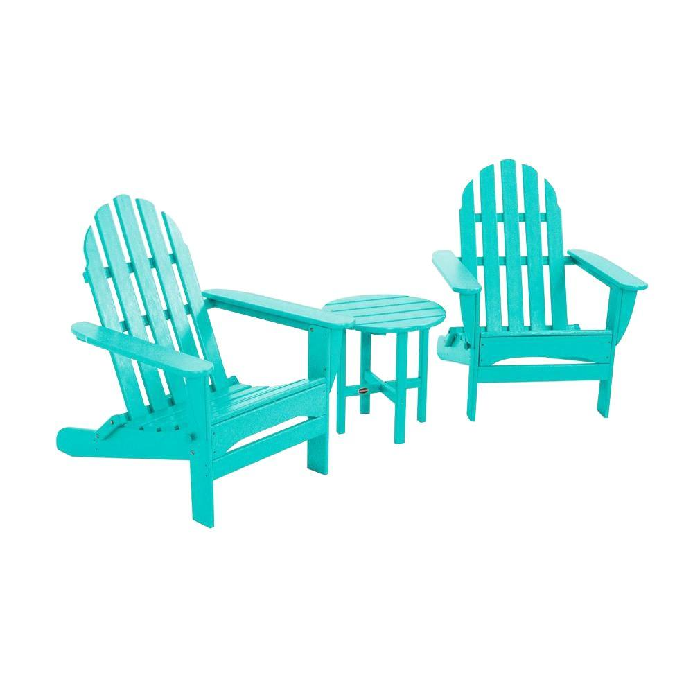 Classic Folding Aruba 3-Piece Adirondack Patio Seating Set