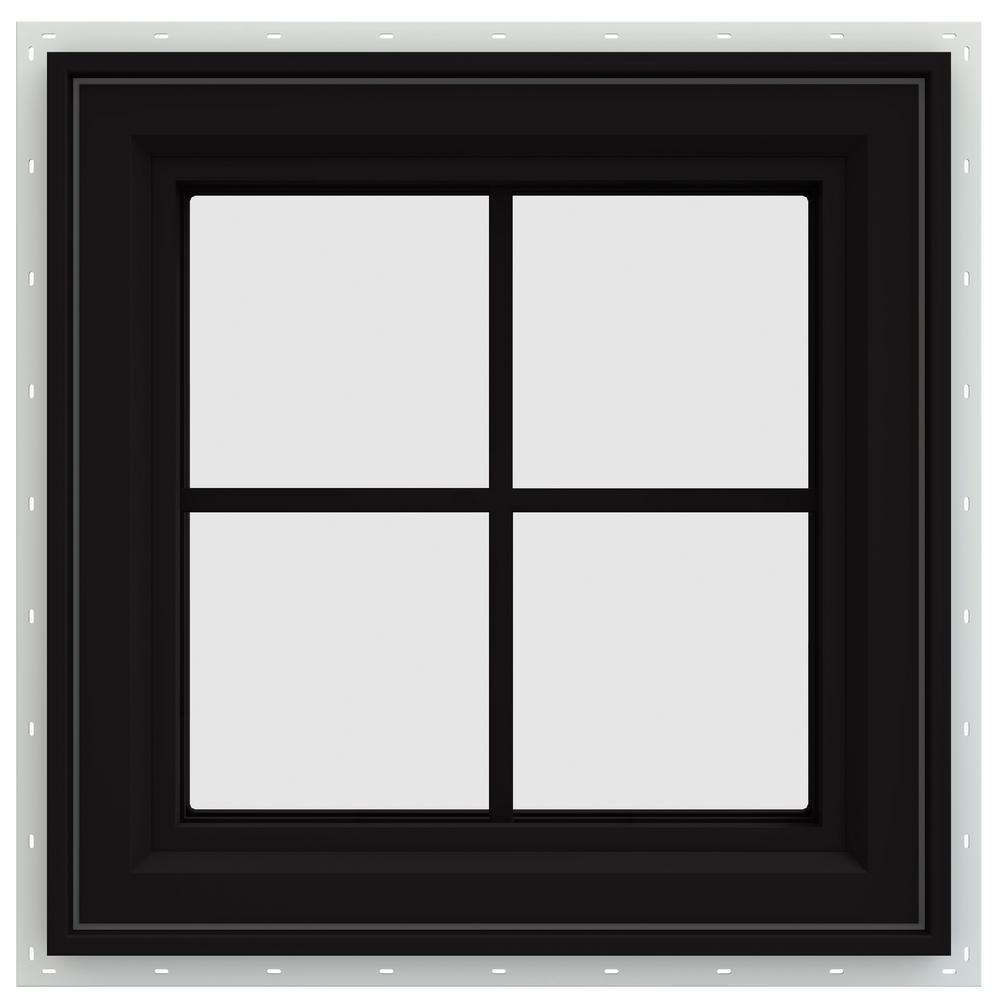 23.5 in. x 23.5 in. V-4500 Series Left-Hand Casement Vinyl Window with Grids - Black