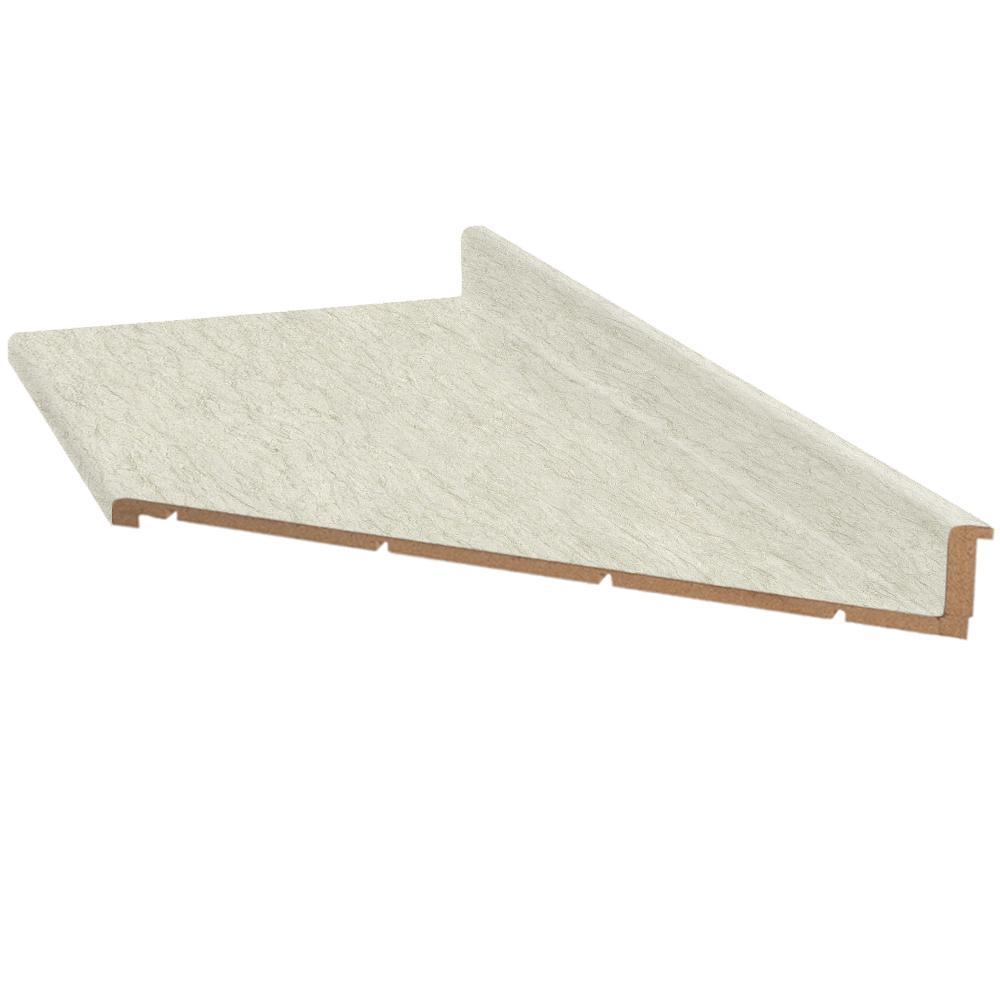 Hampton Bay 6 Ft Laminate Countertop With Right Miter In White Cascade With Tempo Edge And Integrated Backsplash 111312010695003 The Home Depot