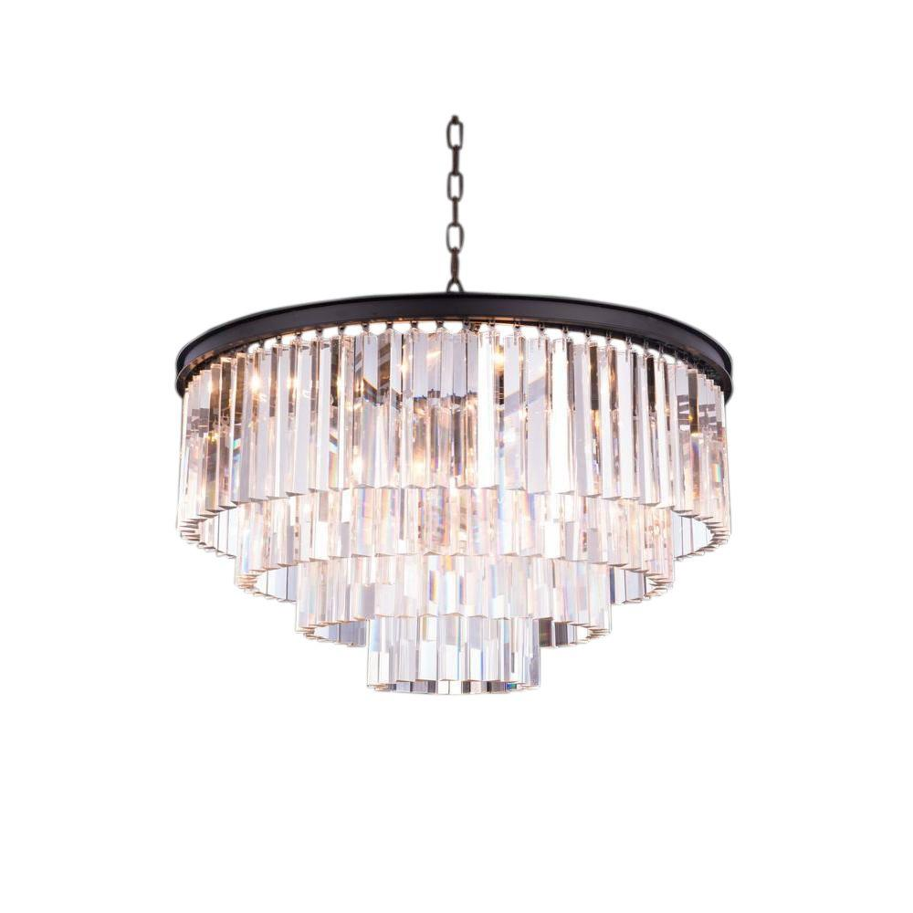 Elegant Lighting Sydney 17-Light Mocha Brown Chandelier with Clear Crystal
