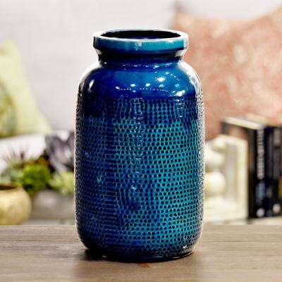 Turquoise Gloss Washed Ceramic Decorative Vase