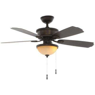 Umber 46 in.  LED Indoor/Outdoor Oil Rubbed Bronze Ceiling Fan with Light Kit