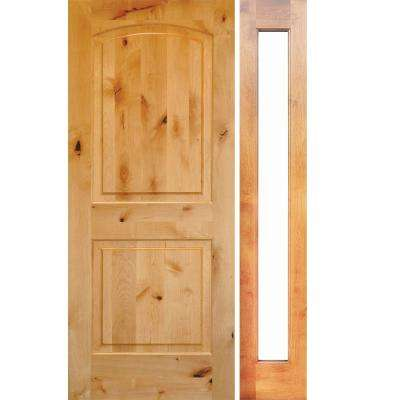 46 in. x 80 in. Rustic Unfinished Knotty Alder Arch-Top Right-Hand Right Full Sidelite Clear Glass Prehung Front Door